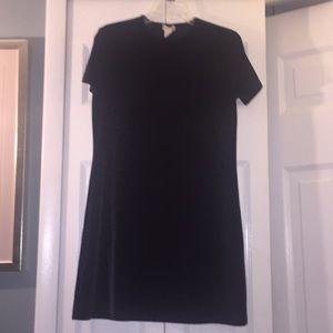 Short Sleeve Black Velour Dress